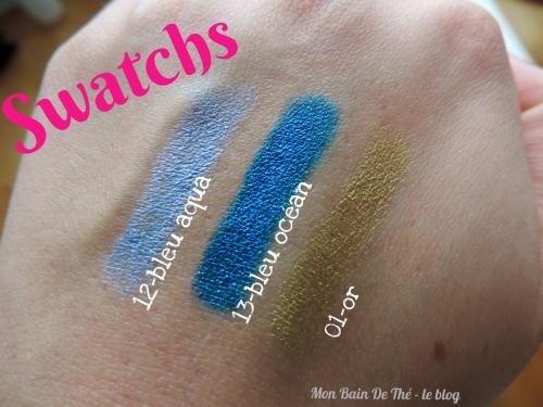swatch crayons yves rocher bleu aqua, or, bleu ocean